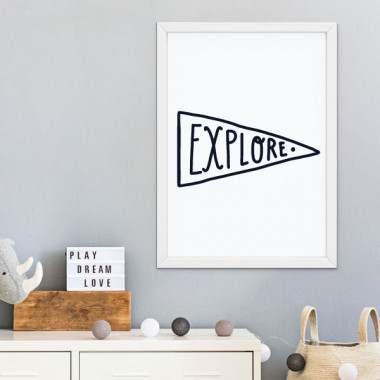 Lámina infantil - Explore - Cuadro decorativo