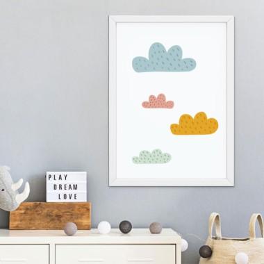 Lámina infantil - Nubes de colores - Cuadro decorativo