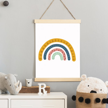 Lámina infantil - Arcoíris mostaza - Cuadro decorativo