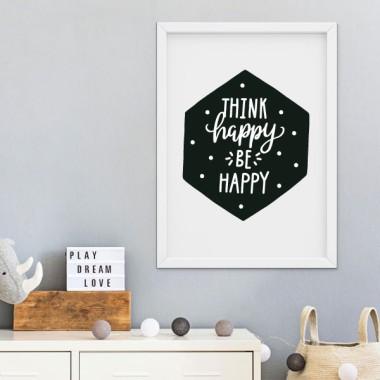 Lámina decorativa - Think happy, Be happy - Cuadros de diseño