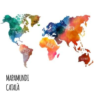 Mapamundi aquarel·les - Vinils decoratius Vinils mapamundi Vinil de paret a partir de140x80 cmamb un mapa del món del disseny, pintat amb efecte aquarel·la i amb els noms de tots els continents en castellà, català i euskera.  Mides aproximades del vinil enganxat (ample x alt) Gran:140x80cm Gegant:200x115cm vinilos infantiles y bebé Starstick