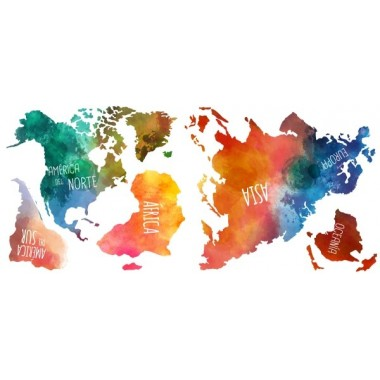 Mapamundi acuarelas - Vinilos decorativos Vinilos mapamundi Vinilos decorativosde pared 140x80 cmcon un mapamundi de diseño. Vinilo decorativopintado con efecto acuarela con los nombres de los continentes. Esta disponible en castellano, catalán y euskera.   Medidas aproximadas del vinilo montado (ancho x alto) Grande:140x80 cm Gigante:200x115 cm vinilos infantiles y bebé Starstick
