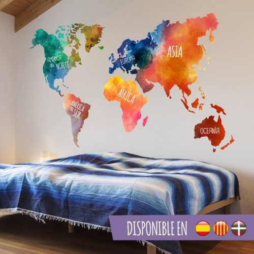 Sticker Carte du monde aquarelle