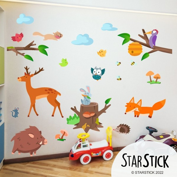 sticker muraux chambre b b animaux de la for t. Black Bedroom Furniture Sets. Home Design Ideas