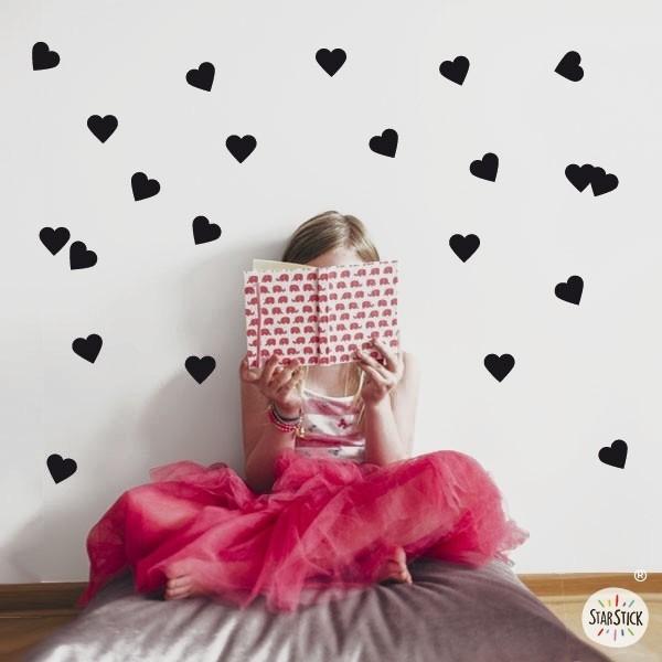 Cœurs - Sticker muraux Accueil Les Tailles 21 coeurs La taille de la lame: 15 x 60 cm Coeurs Taille: 6x5,5 cm vinilos infantiles y bebé Starstick