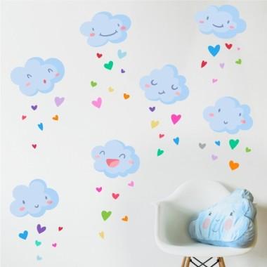 Pluja de cors - Tons pastel - Vinil Infantil