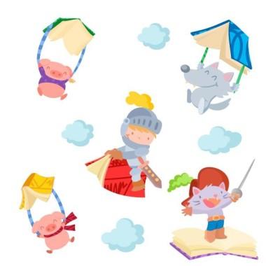 Histoires pour enfants - Sticker enfant Vinyle éducatif / écoles Sticker muraux idéal pour les bibliothèques et les écoles. Mélange de personnages de contes de fées.   Dimensions approximatives (largeur x hauteur) Moyen:110x70 cm Grand:210x105cm Géant:275x135 cm Súper Géant:325x175 cm   vinilos infantiles y bebé Starstick