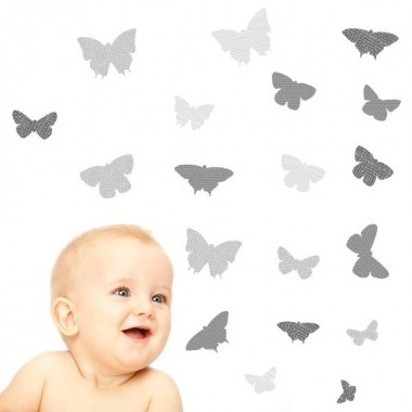 19 Papillons Gris - Stickers enfant