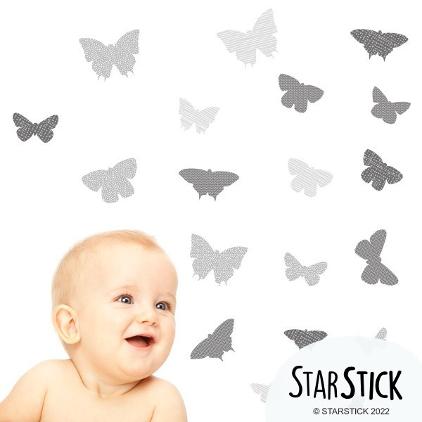 40 Papillons Gris - Stickers enfant