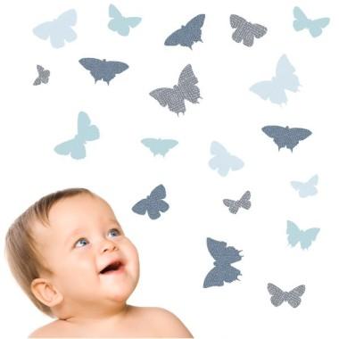19 Papillons Bleu - Stickers enfant