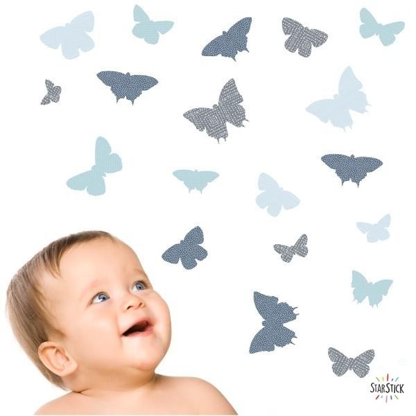 40 Papillons Bleu - Stickers enfant