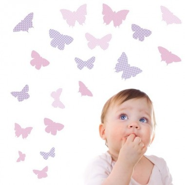 19 Papillons Lilas - Stickers enfant