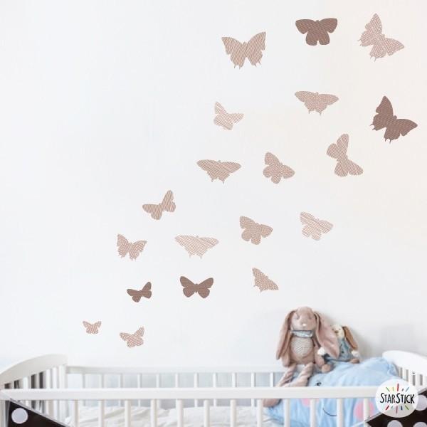19 Papillons Beige - Stickers enfant