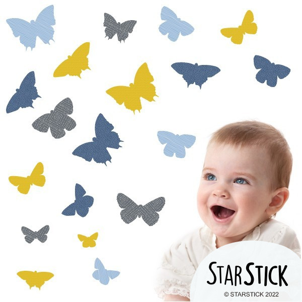 19 Papillons Moutarde - Stickers enfant