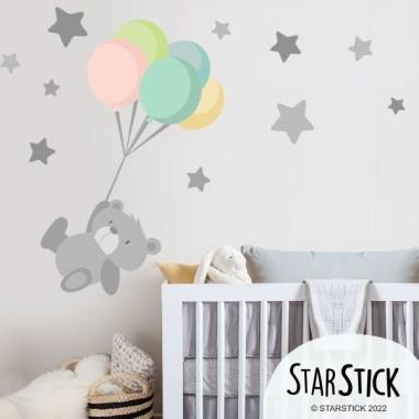 Vinilo bebé Tierno osito con globos
