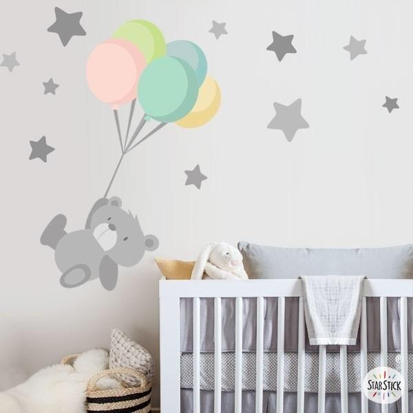 Tierno osito con globos vinilos infantiles - Vinilos infantiles grandes ...