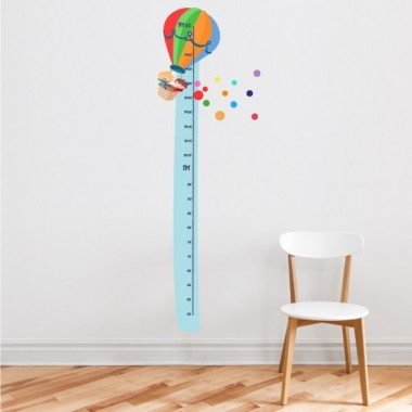 Montgolfière - Adhesive measurer Toises Taille de la feuille: 135x20cm Taille du montage: 135x42cm  Comprend 16 autocollants pour marquer ce que vous voulez!     vinilos infantiles y bebé Starstick