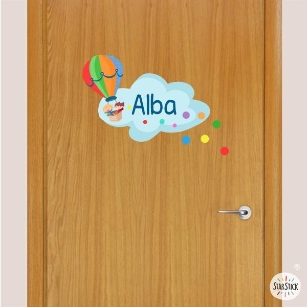 Montgolfier avec confettis - Sticker nom de porte