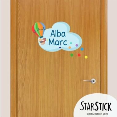 Globo con confeti - Nombre para puertas Vinilo infantil