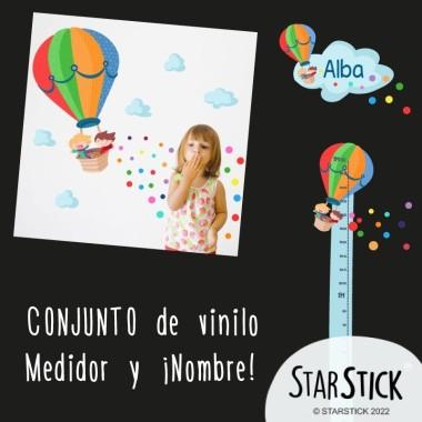 Montgolfier avec confettis - Sticker nom de porte Stickers porte chambre Taillede la feuille/montage 1 nom:30x20 cm 2 noms:31x22 cm  vinilos infantiles y bebé Starstick