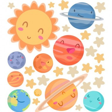 Planètes enfants - Stickers muraux Sticker muraux chambre bébé Dimensions approximatives (largeur x hauteur) Petit:100x60 cm Moyen:140x80 cm Grand:200x110 cm Géant:225x150 cm  AJOUTER UN PRÉNOM À PARTIR DE 9,95 € vinilos infantiles y bebé Starstick