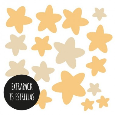 Extra Pack - Estrellas planetas infantiles Extra Packs Extrapack de 15 estrellas de entre 3 y 8cm de ancho. Tamaño de la lámina: 25x25 cm vinilos infantiles y bebé Starstick