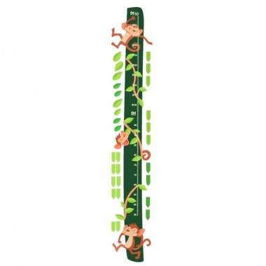 Monos saltarines - vinilo medidor Medidores Vinilo medidor con divertidos monos saltarines. Medidores de pared a juego con los vinilos murales. Una genial idea para decorar habitaciones infantiles.   Medidasdel vinilo Tamaño de la lámina: 25x135 cm Tamaño del montaje con las hojas: 35x135 cm ¡Incluye 16 etiquetas para marcar lo que quieras!   vinilos infantiles y bebé Starstick