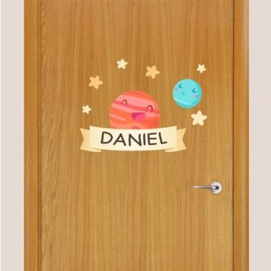 Planetas infantiles - Nombre para puertas Vinilo infantil
