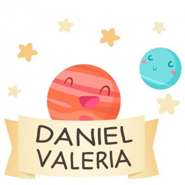Planètes enfants - Sticker nom de porte