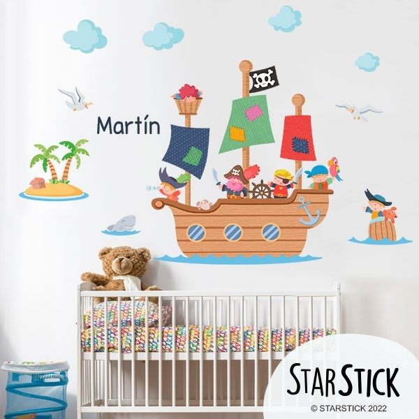 sticker enfant grand bateau pirate. Black Bedroom Furniture Sets. Home Design Ideas