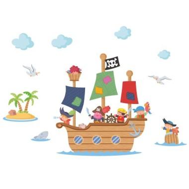 Gran vaixell pirata - Vinils infantils Vinils infantils Nen Espectacular vinil de paret amb un gran vaixell pirata! Vinils decoratius de gran qualitat per a habitacions de nens i nadons.  Mides aproximades del vinil enganxat (ample x alt) Petit:100x55 cm Mitjà:145x80 cm Gran:180x100 cm Gegant:250x150cm  AFEGEIX UN NOM AL VINIL DES DE 9,99 €  vinilos infantiles y bebé Starstick