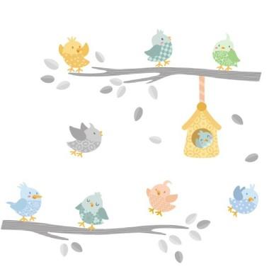 Oiseaux branche gris - Sticker en vinyle Sticker muraux chambre bébé Dimensions approximatives (largeur x hauteur) Petit:100x65 cm Moyen:150x80 cm Grand:210x115 cm Géant:275x155 cm   AJOUTER UN PRÉNOM À PARTIR DE 9,95 € vinilos infantiles y bebé Starstick