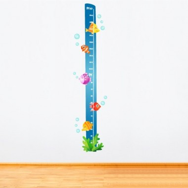 Poissons tropicaux - Sticker toise Toises Les Tailles Tamaño de la lámina: 25x135 cm Tamaño del montaje: 30x135 cm   Comprend 16 étiquettes pour marquer ce que vous voulez! vinilos infantiles y bebé Starstick
