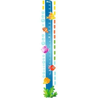 Medidor Peces tropicales - Vinilo medidor Medidores Medidor de pared con peces tropicales. Vinilos infantiles originales de StarStick que permiten medir a los niños y decorar sus habitaciones llenándolas de color.   Medidas del vinilo Tamaño de la lámina: 25x135 cm Tamaño del montaje: 30x135 cm ¡Incluye 16 etiquetas para marcar lo que quieras! vinilos infantiles y bebé Starstick