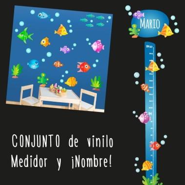 Peixos tropicals - Nom per portes vinil infantil Vinils per portes amb nom Vinil decoratiu per portes amb divertits peixos tropicals. Es pot personalitzar amb el nom del nadó. Mida de la làmina i del muntatge Làmina amb 1 nom: 29x18 cm Làmina amb 2 noms: 29x22,5 cm   vinilos infantiles y bebé Starstick