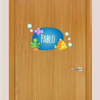 POISSONS TROPICAUX - Sticker nom de porte Stickers porte chambre Taillede la feuille/montage 1 prénom: 29x18 cm 2 prénoms:29x22,5 cm   vinilos infantiles y bebé Starstick