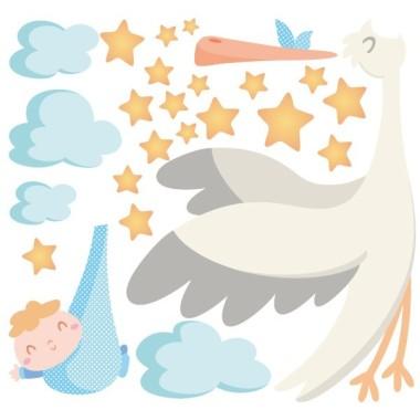 Bienvenue bébé - Sticker muraux chambre bébé Sticker muraux chambre bébé Dimensions approximatives (largeur x hauteur) Petit:80x60 cm Moyen:110x80 cm Grand:230x130 cm  AJOUTER UN PRÉNOM À PARTIR DE 9,95 €  vinilos infantiles y bebé Starstick