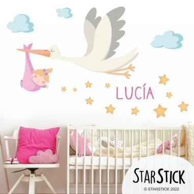 Bienvenue bébé. Fille - Sticker muraux chambre bébé