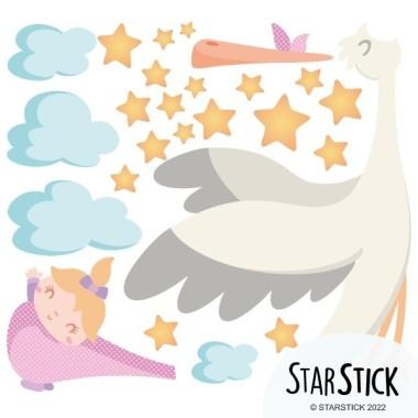 Benvingut nadó. Nena - Vinils infantils Vinils nadó Vinil infantil amb una mare cigonya portant un adorable nadó. Un vinil ideal per decorar habitacions de nadons.  Mides aproximades del vinil enganxat (ample x alt) Petit:80x60 cm Mitjà:110x80 cm Gran:230x130 cm  AFEGEIX UN NOM AL VINIL DES DE 9,99 €  vinilos infantiles y bebé Starstick
