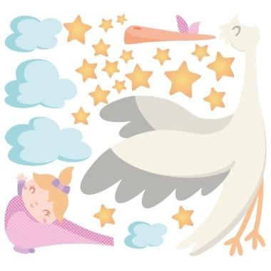 Bienvenido bebé. Niña - Vinilos infantiles Vinilos infantiles Bebé Vinilo infantil con una mamá cigüeña transportandoun adorable bebé. Un vinilo ideal para decorar habitaciones de recién nacidos. Medidas aproximadas del vinilo montado (ancho x alto) Pequeño:80x60 cm Mediano:110x80 cm Grande:230x130 cm  AÑADE UN NOMBRE AL VINILO DESDE 9,99€ vinilos infantiles y bebé Starstick