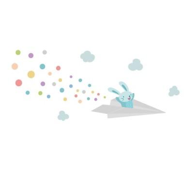 Lapin avec l'avion de papier - Sticker muraux chambre bébé Sticker muraux chambre bébé Sticker enfantLapin avec l'avion de papier Dimensions approximatives (largeur x hauteur) Petit:110x50 cm Moyen:155x75cm Grand:210X115cm Géant:275x145cm  AJOUTER UN PRÉNOM À PARTIR DE 9,95 € vinilos infantiles y bebé Starstick