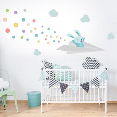 Vinilo bebé Avión de papel con conejito - Vinilos infantiles
