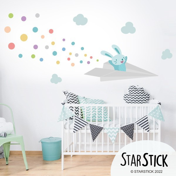 Sticker enfant avion lapin