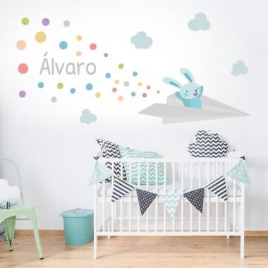 Lapin avec l'avion de papier - Sticker muraux chambre bébé