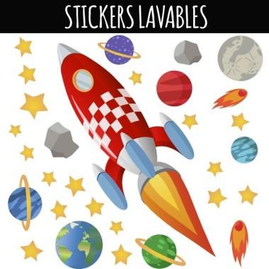 Fusée - Stickers lavables