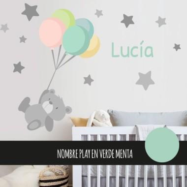 Vinilo infantil y bebé tierno osito con globos