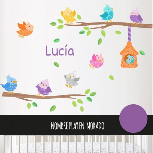 Pajaritos de colores con casita - Vinilo infantil decorativo