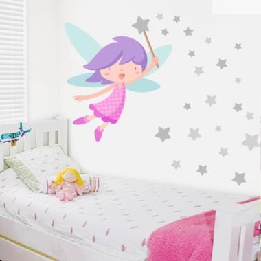 Fée avec baguette et étoiles gris - Sticker enfant fille