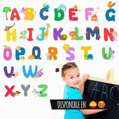 Abecedario - Vinilo infantil Vinilos Educativos / Colegios Divertido vinilo de pared para aprender el abecedario. Es una buena idea para decorar colegios o espacios educativos.   Medidas aproximadas del vinilo montado (ancho x alto) Pequeño: 75x10 cm Mediano:90x75cm Grande: 125x90 cm Gigante: 175x125 cm vinilos infantiles y bebé Starstick