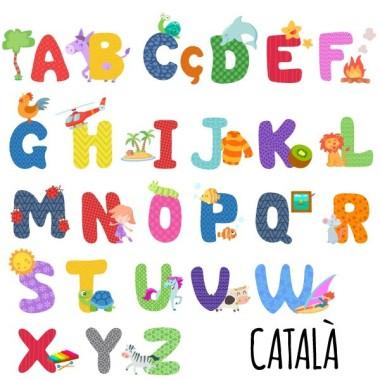 Abecedari - Vinil infantil escoles Vinils educatius / escoles Disponible en català. Divertit vinil de paret per aprendre l'abecedari.    Mides aproximades del vinil enganxat (ample x alt) Petit: 75x10 cm Mitjà: 90x75cm Gran:125x90 cm Gegant: 175x125 cm  vinilos infantiles y bebé Starstick